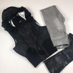 BeBe Sport Puff Vest w/Detachable Hood - Medium